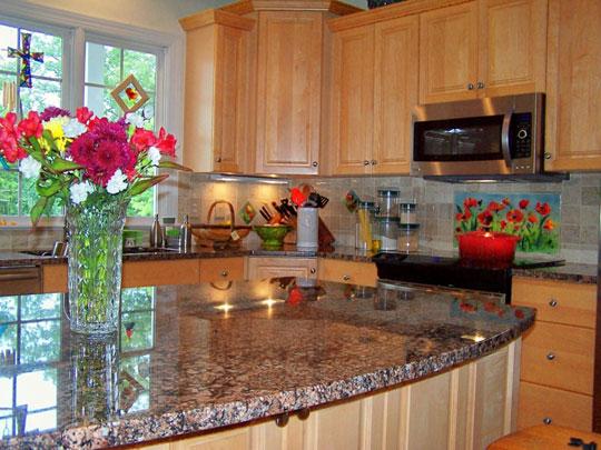 Floral Kitchen Backsplash Red Poppies Designer Glass