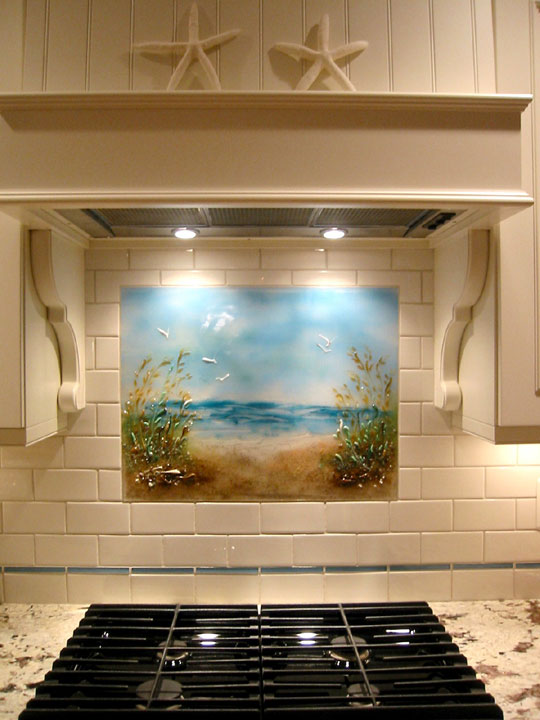 beach themed kitchen backsplash path to the beach designer glas