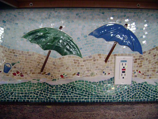 "Mosaic Kitchen Backsplash ""Beach Scene"" 