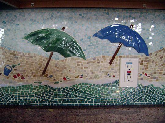 Mosaic Kitchen Backsplash Quot Beach Scene Quot Designer Glass