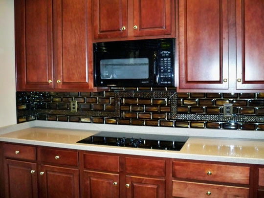 For This Commissioned Kitchen Backsplash We Created Fused Gl Stacked Tiles With Layers Of Iridized Gold Black Streaky Woodlands
