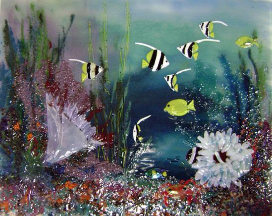 Fused Glass Kitchen Backsplash Underwater Scene