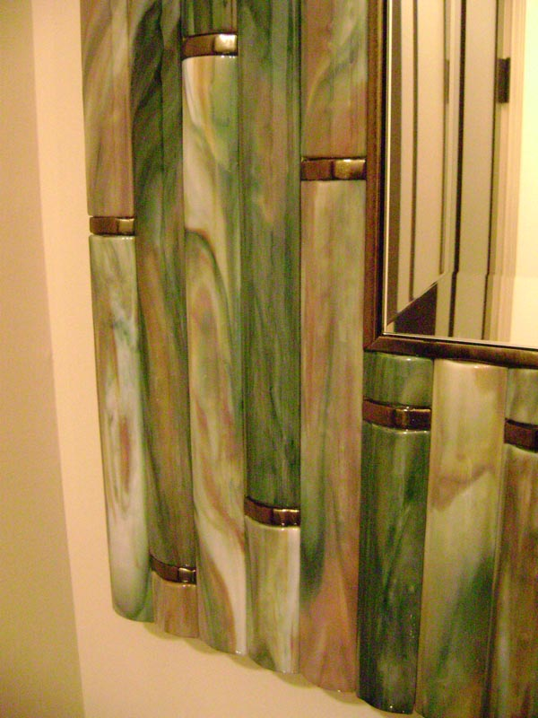 Bamboo Mirror In Hand Made Fused Glass Tiles Designer