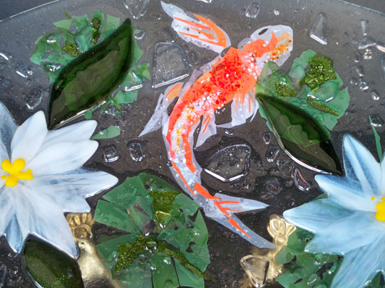 Koi bowl designer glass mosaics for Koi pond glass