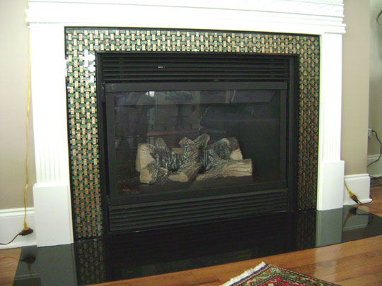 Basketweave Fireplace Surround Designer Glass Mosaics