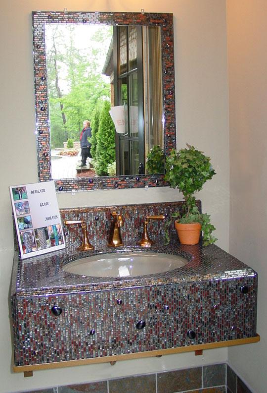 Mosaic Sink Amp Mirror Designer Glass Mosaics