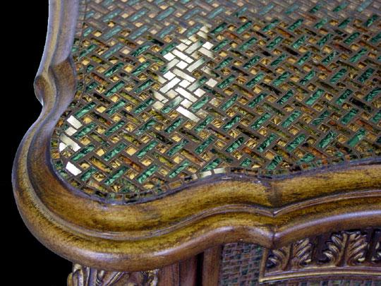 Green gold vanity designer glass mosaics designer glass for Mosaic tile vanity top
