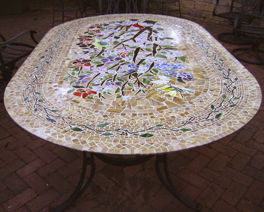 Mosaic Table Oval Designer Glass Mosaics