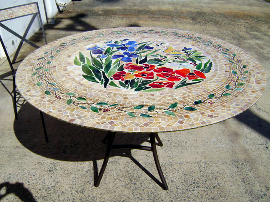 Mosaic Table Round Designer Glass MosaicsDesigner