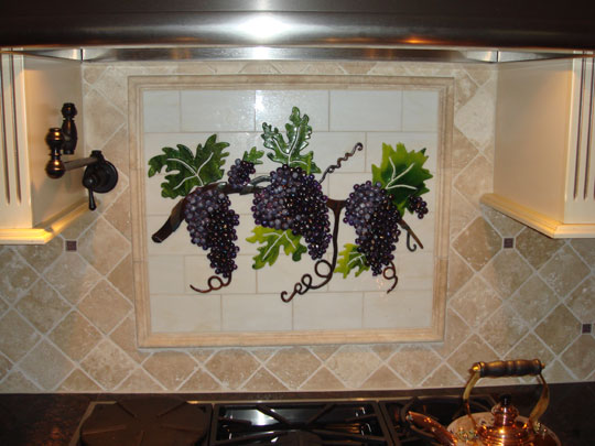 fused and stained glass kitchen backsplash with grapes vines