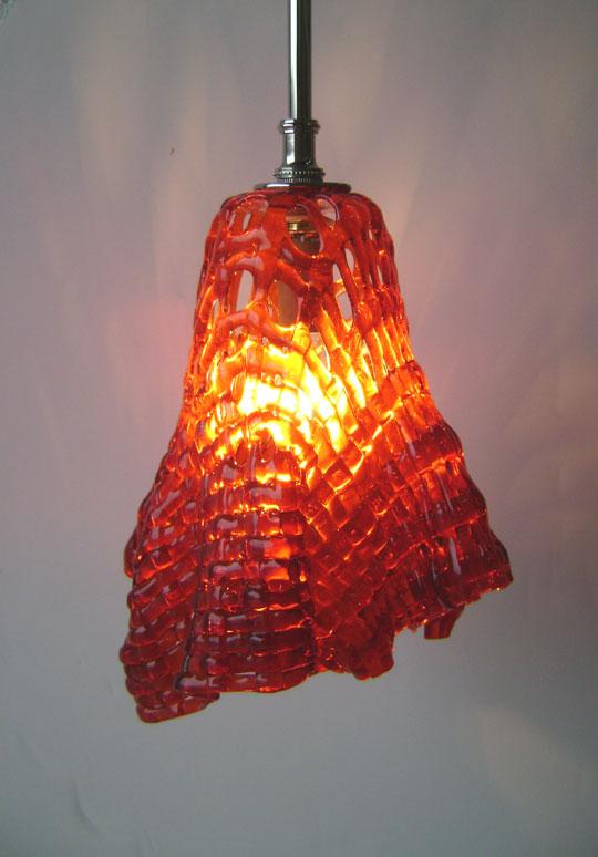 Orange glass ceiling light shade lightneasy woven glass pendant light designer mosaics aloadofball Image collections