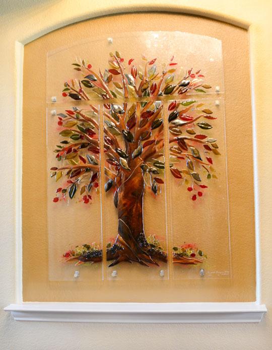 Tree of Life Fused Glass Wall Mural Designer Glass Mosaics