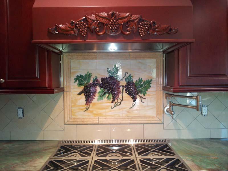 Fused Glass Quot Grapes Amp Vines Quot Kitchen Backsplash Designer
