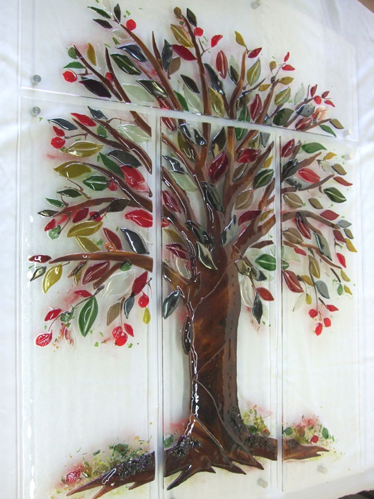 Tree of Life Fused Glass Wall Mural Designer Glass Mosaics