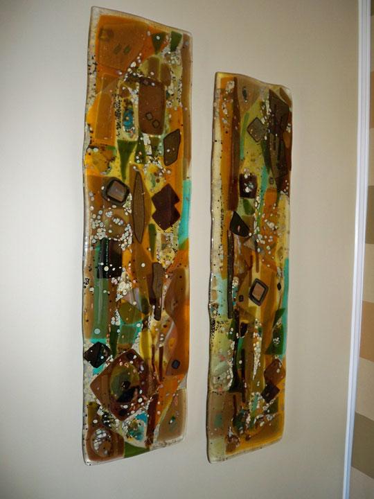 Fused glass wall art panels designer glass mosaics for Glass panel walls