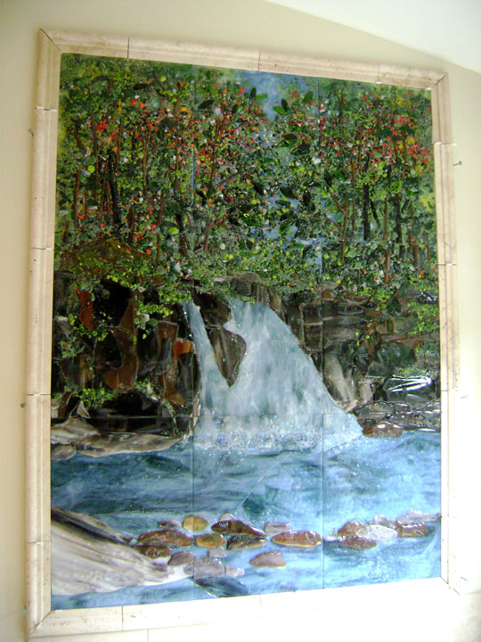 Fused Glass Tile Waterfall Mural Designer Glass Mosaics