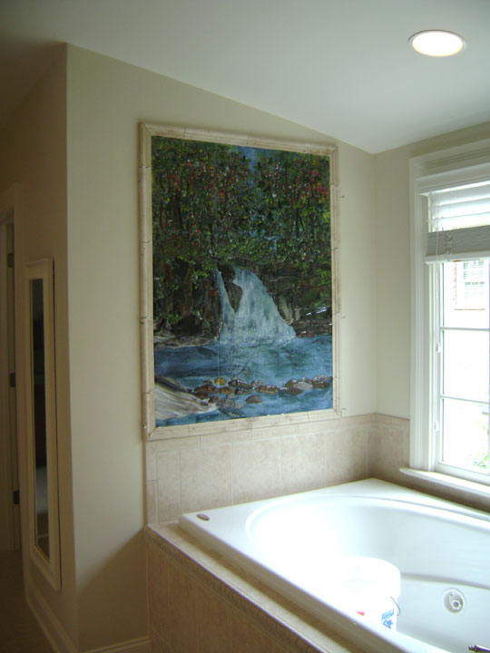 Fused Glass Tile Waterfall Mural Designer Glass Mosaics