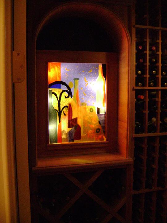 Quot Backlit Quot Abstract Wine Cellar Mural Designer Glass Mosaics
