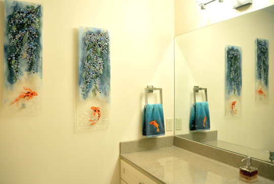 Fused glass panels wisteria koi designer glass mosaics for Koi fish bathroom decorations