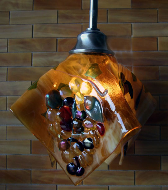 Tuscan theme fused glass pendant light shade in u201cTuscanyu201d colors of streaky amber iridized gold tan bronze and reds & Tuscan Grape Theme Pendant | Designer Glass Mosaics azcodes.com