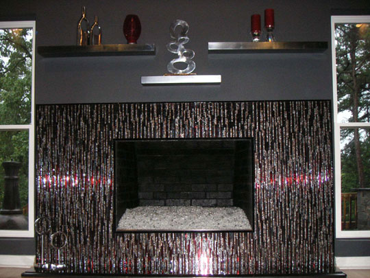 Mosaic Fireplace Surround in Red Silver Bamboo Designer