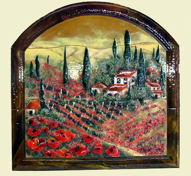 Fused glass wall mural in tuscan theme with poppies for Mural glass painting