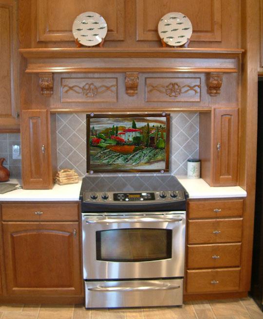 Tuscan Scene Kitchen Backsplash Designer Glass Mosaics
