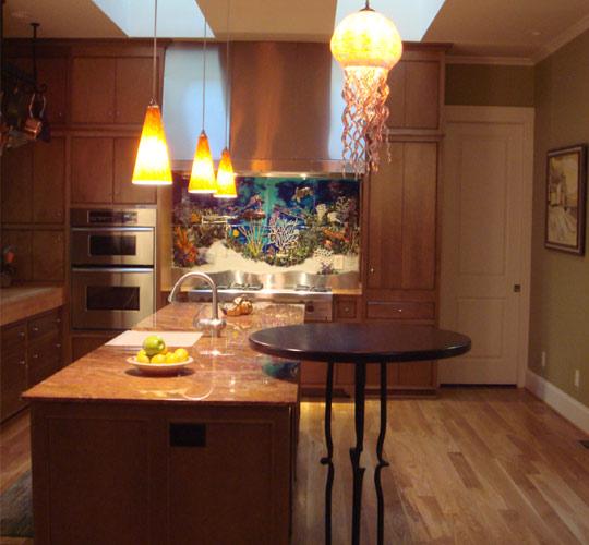 "Custom Glass Tile Mural ""Underwater Seascape"" in Kitchen ..."