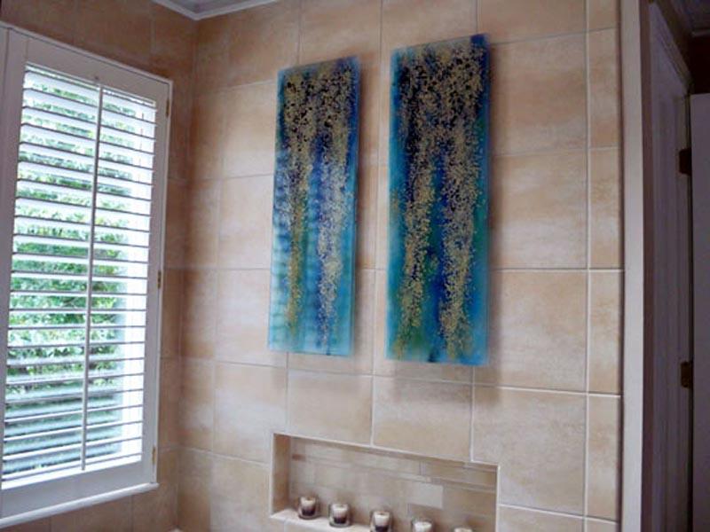 Fused Glass Wall Art U201cBlue Rainforestu201d