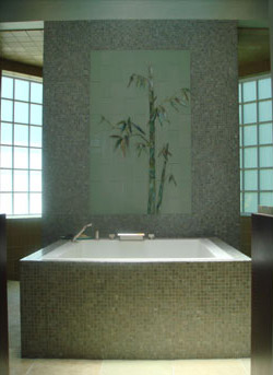 Fused Bamboo Glass Tile Mural in Master Bath Spa