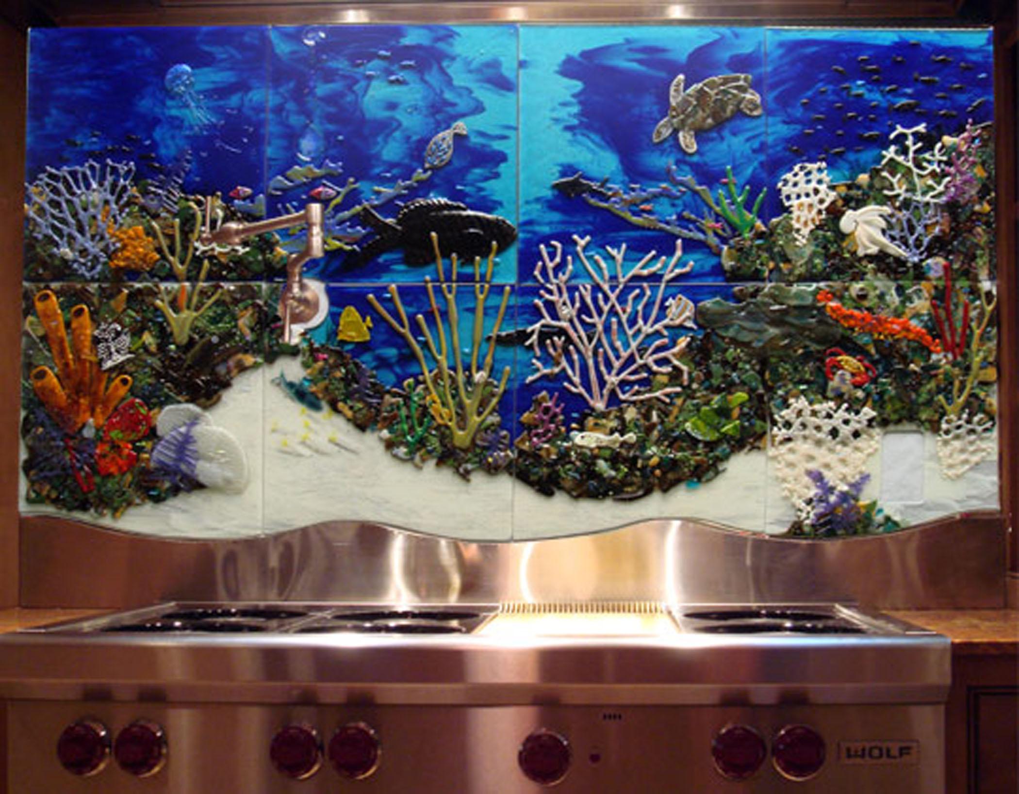 "Custom Glass Tile Mural ""Underwater Seascape"" in Kitchen Backsplash"