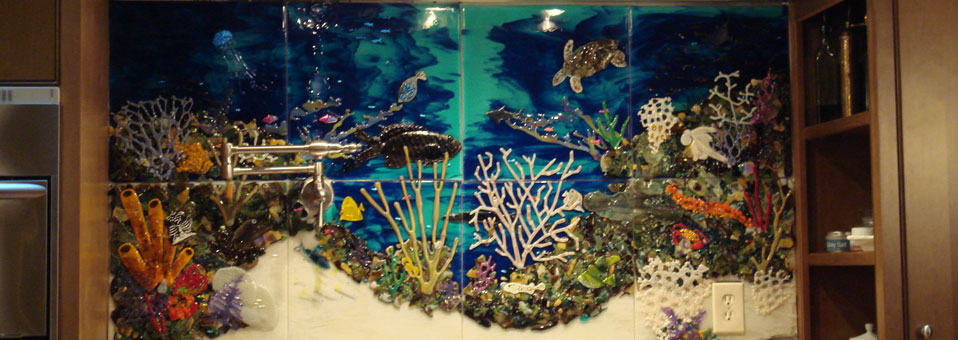 Custom Glass Tile Mural Quot Underwater Seascape Quot In Kitchen