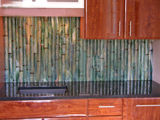 Our innovative rounded fused glass bamboo tiles have a Bamboo backsplash