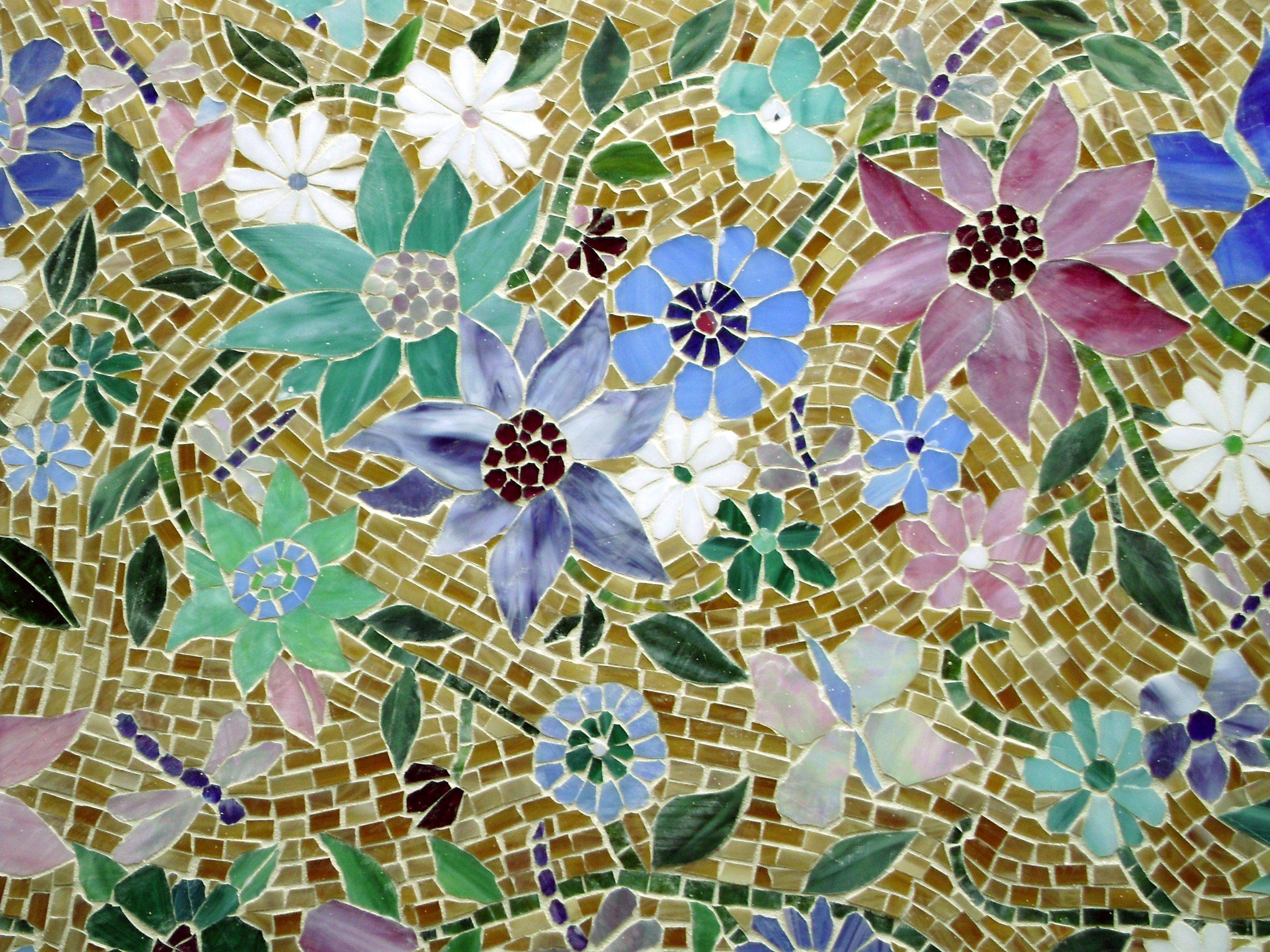 Floral Mosaic Kitchen Backsplash Designer Glass Mosaics
