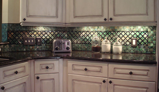 Fused Glass Kitchen Backsplash (Lattice & Parquet)
