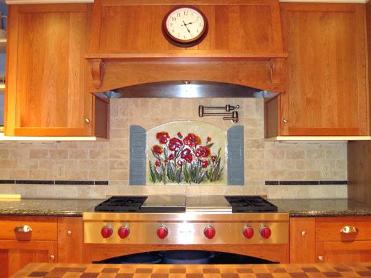 Floral Kitchen Backsplash (Poppies and Shutters)