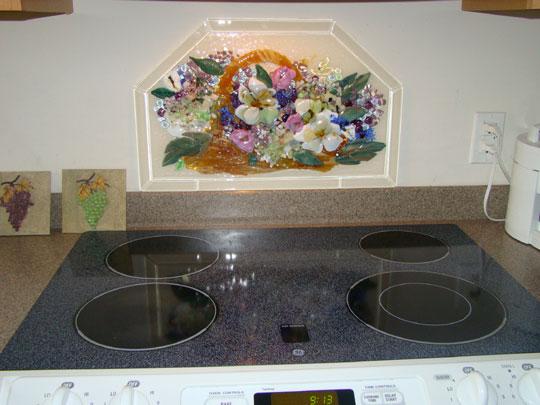 Fused Glass Kitchen Backsplash (Basket of Flowers)
