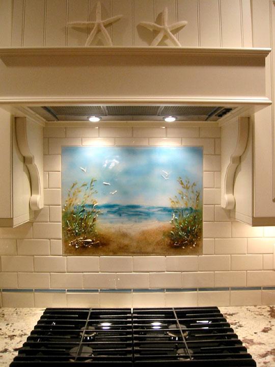 "Beach Themed Kitchen Backsplash ""Path to the Beach"""