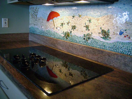 mosaic kitchen backsplash beach scene designer glass mosaics