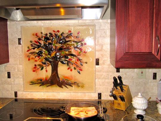 Quot Tree Of Life Quot Kitchen Backsplash Designer Glass Mosaics