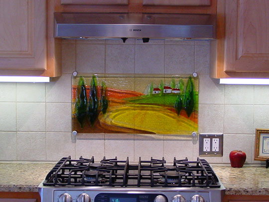 Glass Kitchen Backsplash in Tuscan Scene