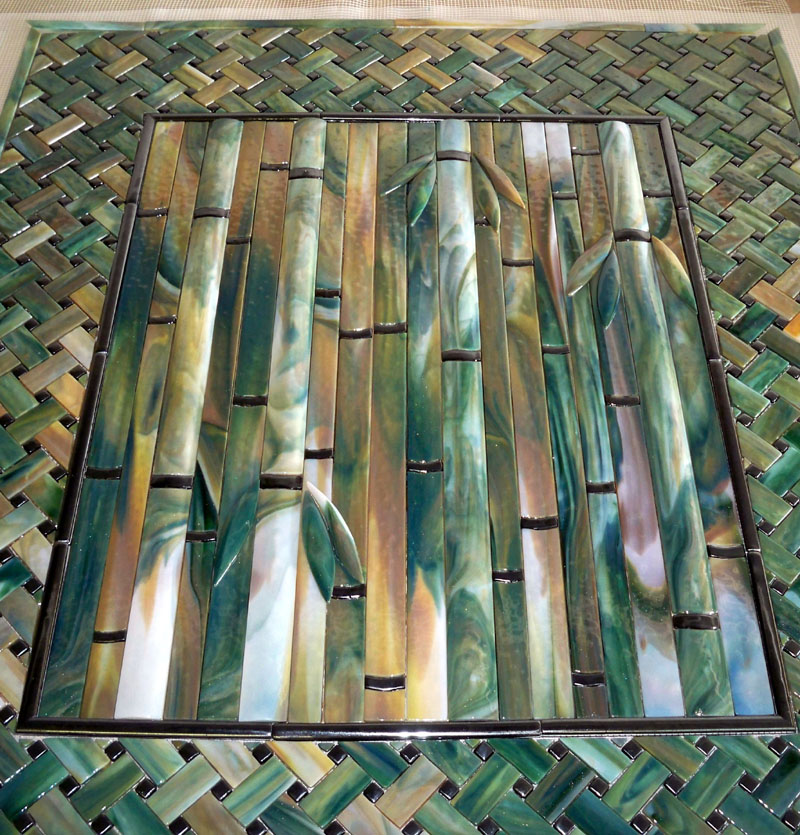 Bamboo backsplash designer glass mosaics Bamboo backsplash