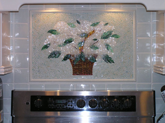 fused glass basket of hydrangeas for kitchen backsplash designe
