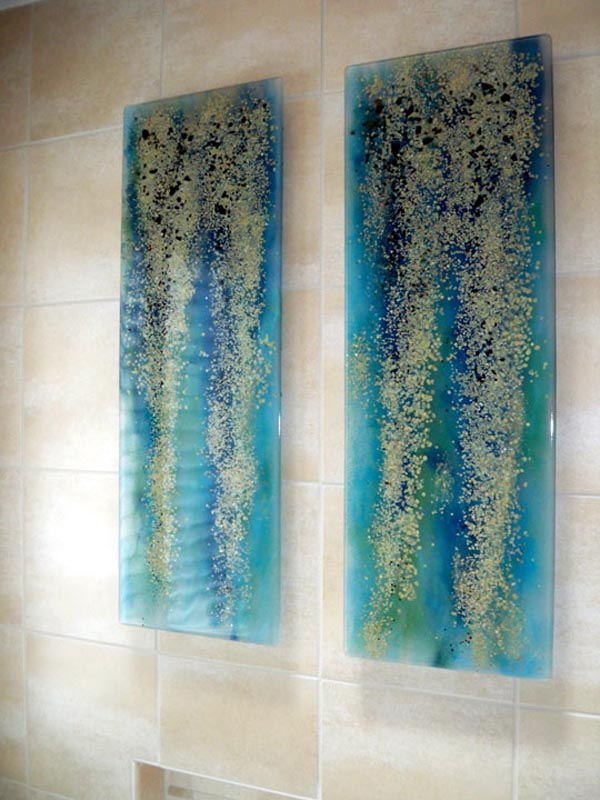 "Fused Glass Wall Art ""Blue Rainforest"""