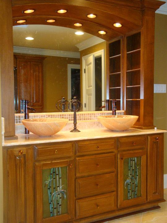 Quot Bamboo Quot Glass Cabinet Insert Panels In Master Bath Designer Glass Mosaics Designer Glass