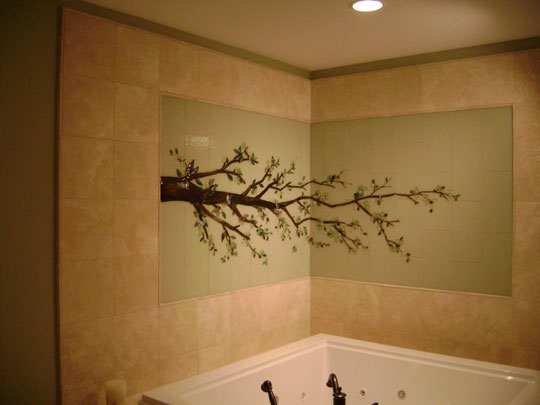 Dogwood Wall in Master Bath