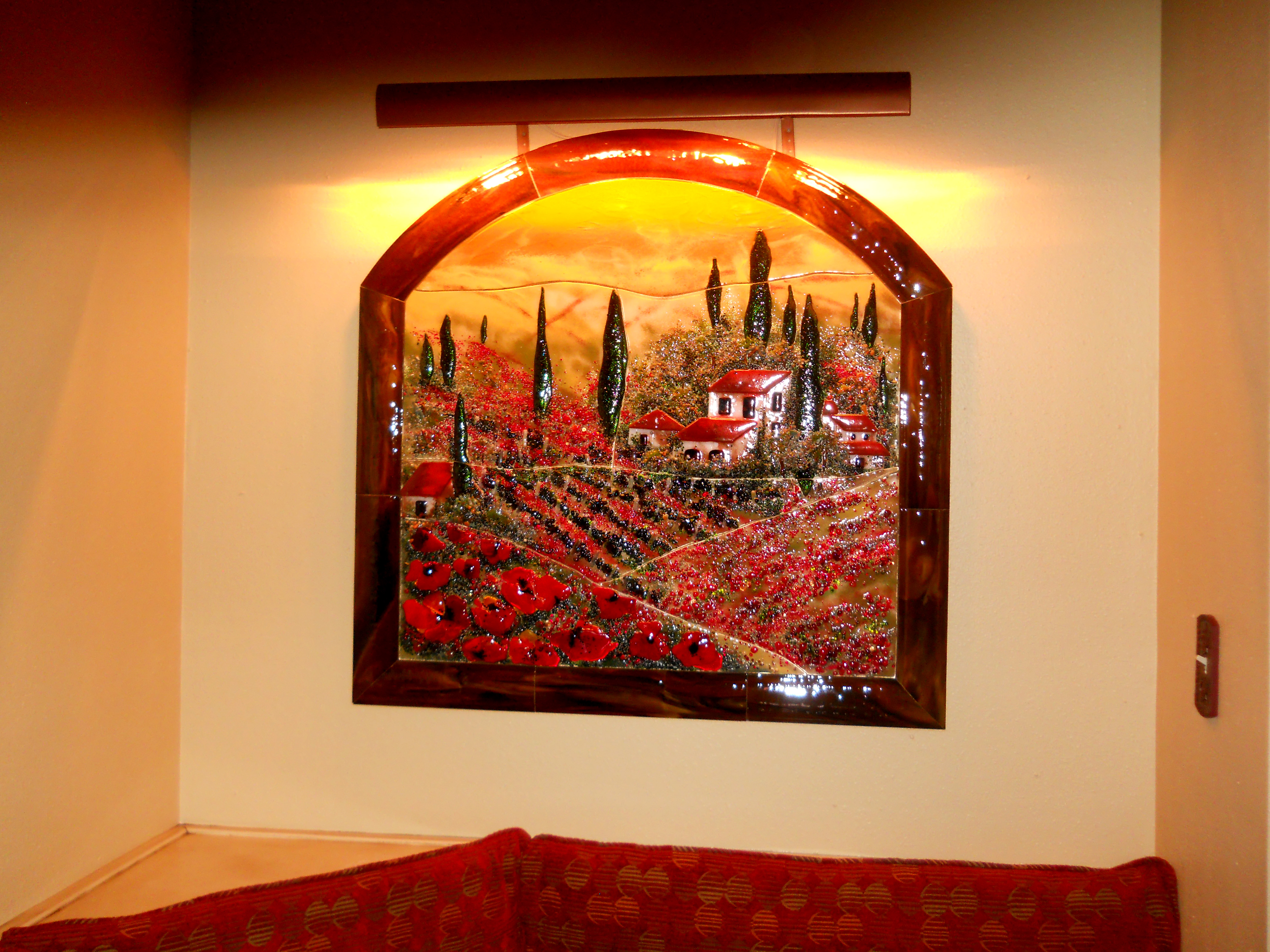 Fused glass wall mural in tuscan theme with poppies designer fused glass tuscan mural amipublicfo Image collections