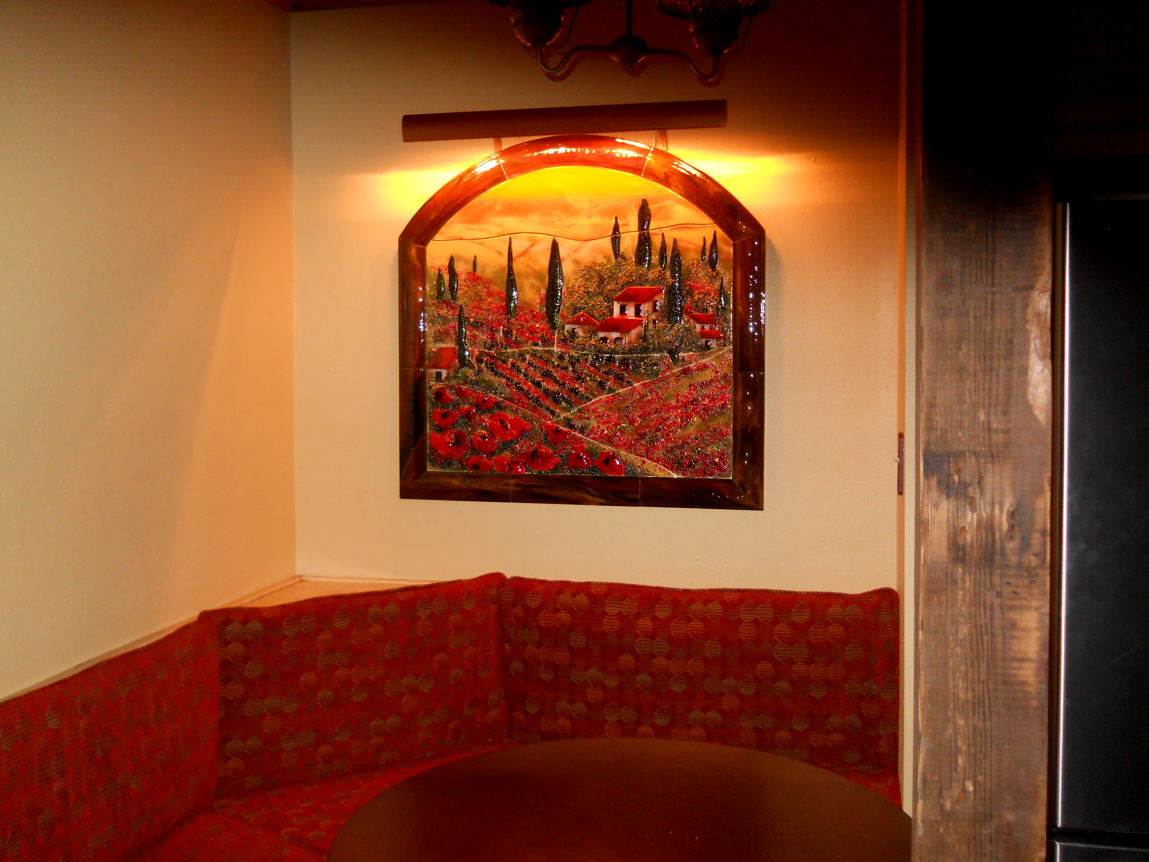 Fused Glass Wall Mural In Tuscan Theme With Poppies Designer Glass