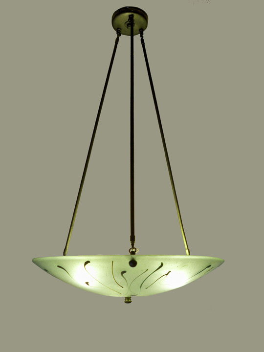 """Organic"" iridized green chandelier 