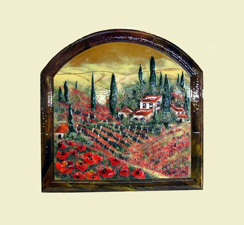 Fused Glass Wall Mural in Tuscan Theme with Poppies